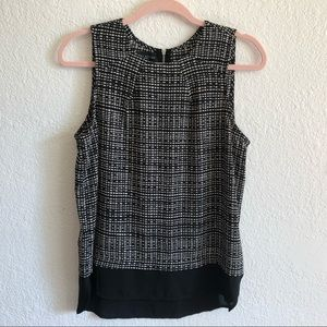 SIMPLY STYLED Sleeveless Black & White Pattern Top